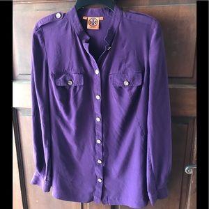 Tory Burch Blouse Purple Silk Button Down Sz 10